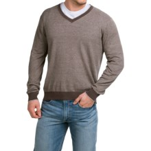 Robert Talbott Feeder Striped Sweater - V-Neck (For Men) in Brown - Closeouts