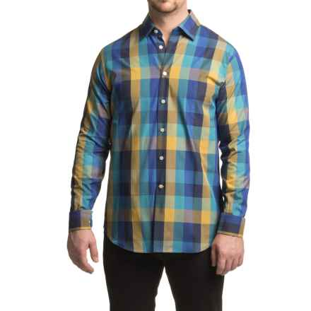 Robert Talbott Meyers Plaid Sport Shirt - Trim Fit, Long Sleeve (For Men) in Blue/Gold - Closeouts