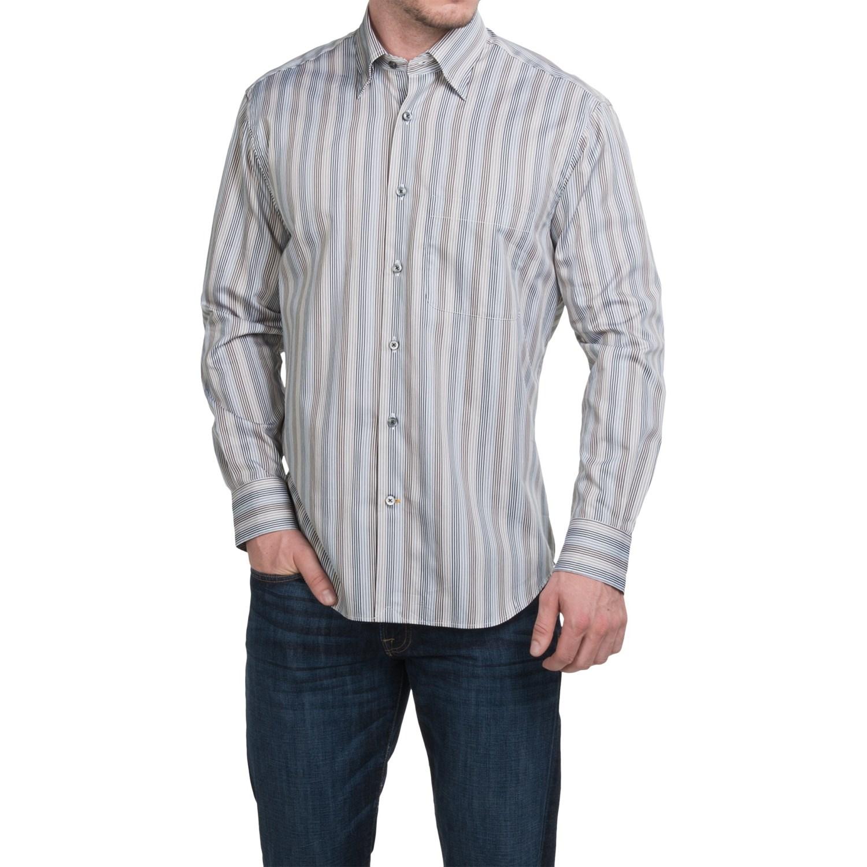 Robert talbott multi stripe cotton sport shirt for men for Button up collared sport shirts