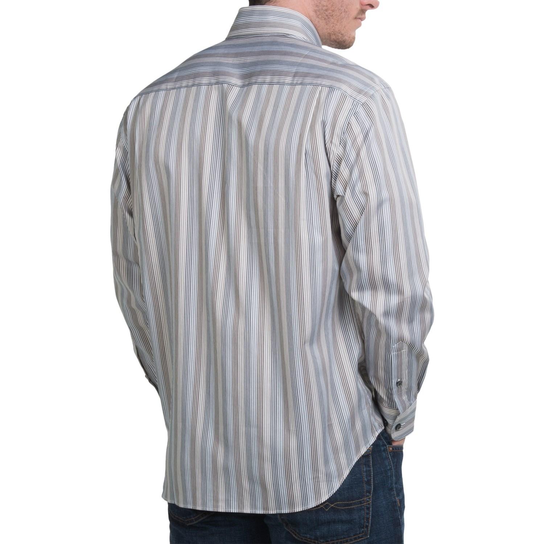 Robert talbott multi stripe cotton sport shirt for men for Hidden button down collar shirts