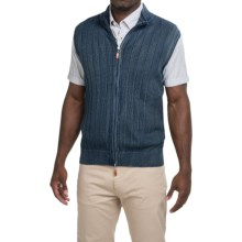 Robert Talbott Ribbed Sweater Vest - Zip Front (For Men) in Indigo - Closeouts