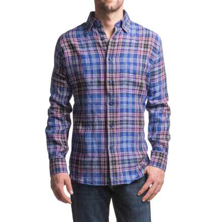 Robert Talbott RT Classic Fit Linen Sport Shirt - Hidden Button-Down Collar, Long Sleeve (For Men) in Blue/White/Rose Plaid - Closeouts