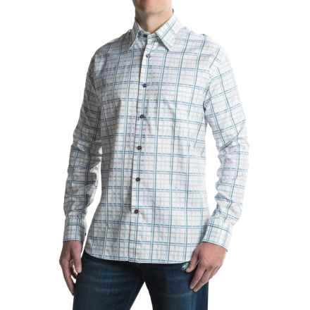 Robert Talbott RT Classic Fit Windowpane Check Sport Shirt - Long Sleeve (For Men) in White/Blue - Closeouts