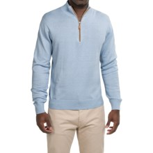 Robert Talbott Solid Zip Neck Sweater (For Men) in Sky - Closeouts