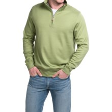Robert Talbott Spyglass Sweater - Pima Cotton, Zip Neck, Long Sleeve (For Men) in Celery - Closeouts