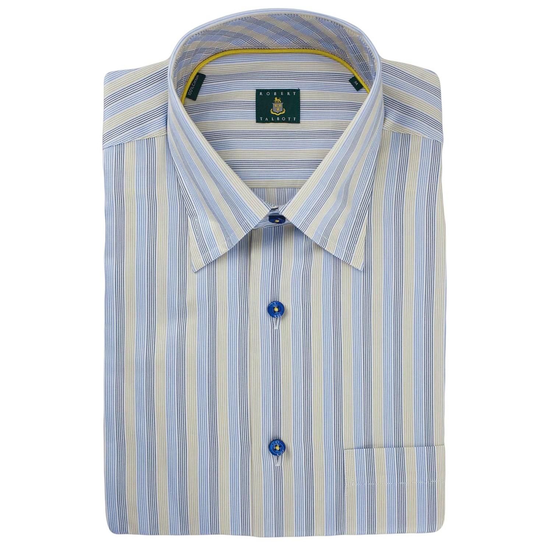 Robert talbott stripe sport shirt hidden button down for Hidden button down collar shirts