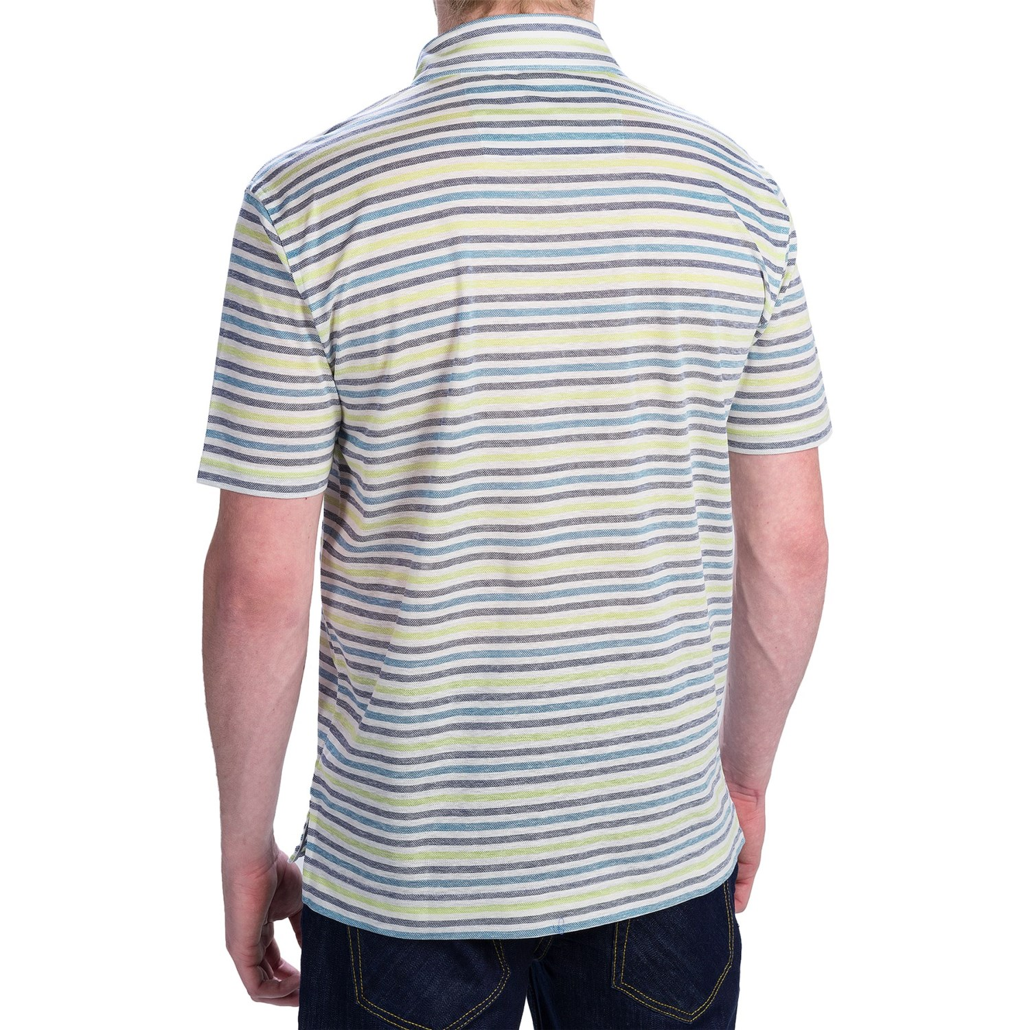 Robert Talbott Striped Pique Polo Shirt For Men 9205p