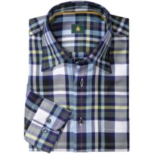 Robert Talbott Twill Plaid Shirt - French Front, Long Sleeve (For Men) in Blue/White/Green - Closeouts