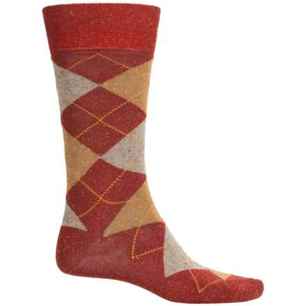 Robert Talbott Viscose-Silk Socks - Crew (For Men) in Burgundy Argyle - Closeouts