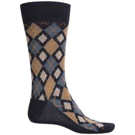 Robert Talbott Viscose-Silk Socks - Crew (For Men) in Navy Jester Argyle - Closeouts