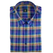 Robert Talbott Windowpane Sport Shirt - Hidden Button-Down Collar, Long Sleeve (For Men) in Blue/Purple/Orange - Closeouts
