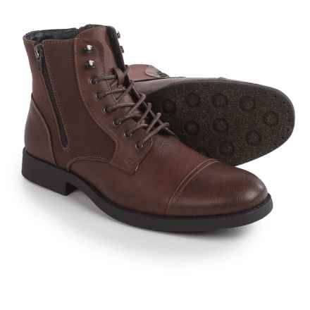 Robert Wayne Cap-Toe Boots - Vegan Leather (For Men) in Brown - Closeouts