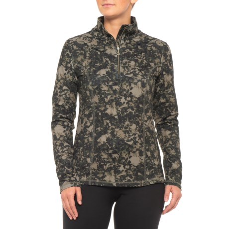 Robin Print Base Layer Top – Zip Neck, Long Sleeve (For Women)