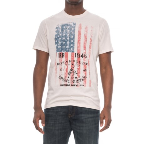 Rock & Roll Cowboy Americana License Plate Graphic T-Shirt - Short Sleeve (For Men) in Cream