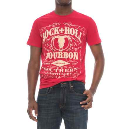 Rock & Roll Cowboy Bourbon Graphic T-Shirt - Short Sleeve (For Men) in Red - Closeouts