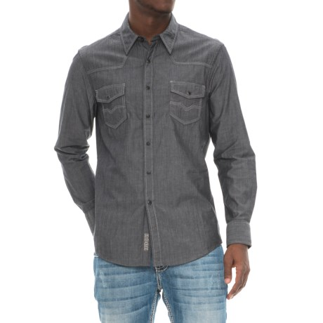 Rock & Roll Cowboy Chambray Shirt - Snap Front, Long Sleeve (For Men) in Grey