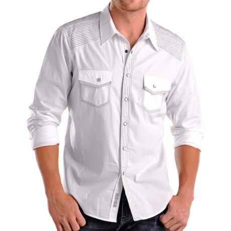Rock & Roll Cowboy Contrast Shirt - Snap Front, Long Sleeve (For Men) in White
