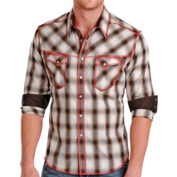 Rock & Roll Cowboy Contrast Stitch Plaid Shirt - Snap Front, Long Sleeve (For Men) in Brown