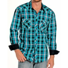 Rock & Roll Cowboy Cotton Ombre Plaid Shirt - Snap Front, Long Sleeve (For Men) in Turquoise/Black - Closeouts