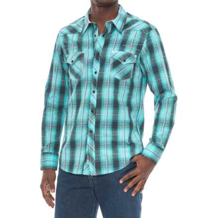 Rock & Roll Cowboy Cotton Satin Shirt - Long Sleeve (For Men) in Teal - Closeouts