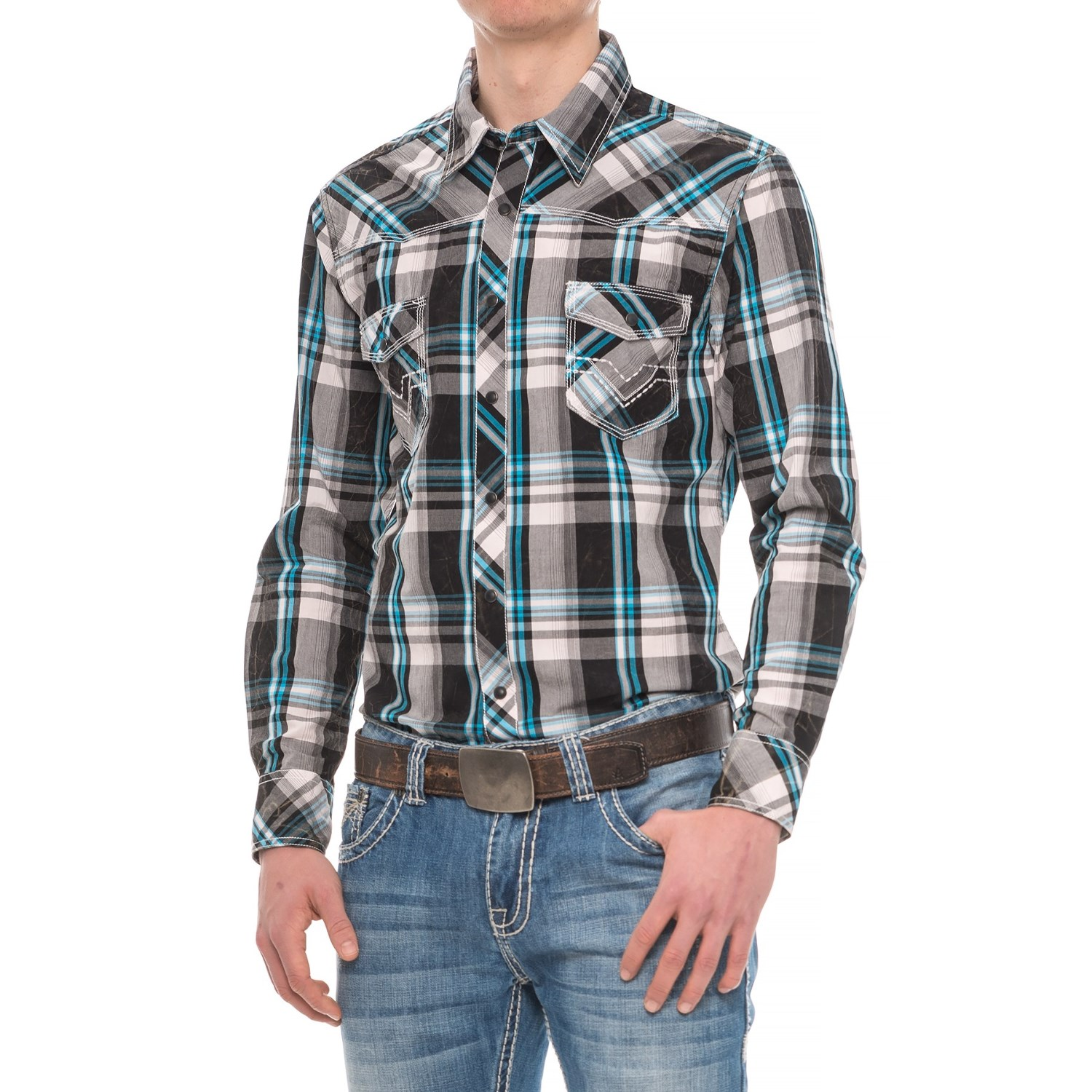 Rock roll cowboy crinkle overdyed plaid shirt for men for Brown and black plaid shirt