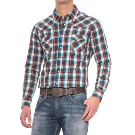 Rock & Roll Cowboy Crinkle Overdyed Plaid Shirt - Snap Front, Long Sleeve (For Men) in Rust/Brown - Closeouts