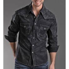 Rock & Roll Cowboy Distress Plaid Shirt - Snap Front, Long Sleeve (For Men) in Black - Closeouts