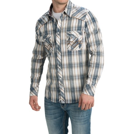 Rock and Roll Cowboy Dobby Plaid Shirt Snap Front, Long Sleeve (For Men)