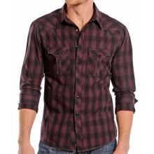 Rock & Roll Cowboy Dobby Plaid Shirt - Snap Front, Long Sleeve (For Men) in Maroon - Closeouts