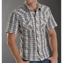 Rock & Roll Cowboy Dobby Plaid Shirt - Snap Front, Short Sleeve (For Men) in Blue - Closeouts