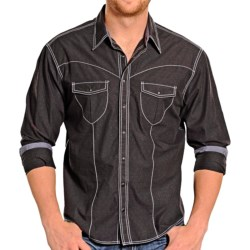Rock & Roll Cowboy Dobby Solid Western Shirt - Snap Front, Long Sleeve (For Men) in Black