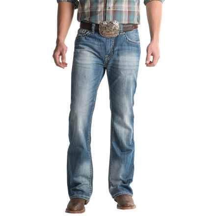 Rock & Roll Cowboy Double Barrel Jeans - Abstract Pocket (For Men) in Medium Wash - Closeouts