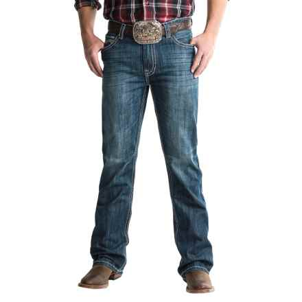 Rock & Roll Cowboy Double Barrel Jeans - Running-V Pocket (For Men) in Dark Vintage - Closeouts