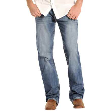 Rock & Roll Cowboy Double Barrel V-Embroidered Jeans - Relaxed Fit, Straight Leg (For Men) in Medium Vintage Wash - Closeouts