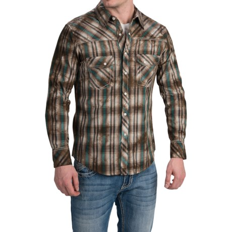 Rock and Roll Cowboy Dyed Plaid Shirt Snap Front, Long Sleeve (For Men)