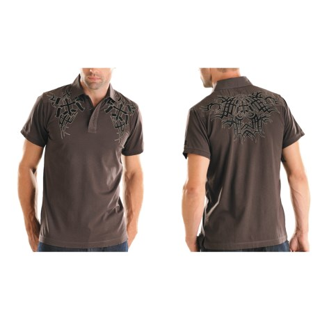 Rock & Roll Cowboy Embroidered Knit Polo Shirt - Short Sleeve (For Men) in 22 Chocolate
