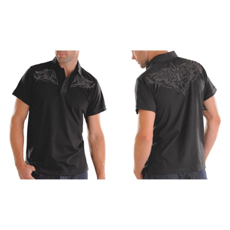 Rock & Roll Cowboy Embroidered Knit Polo Shirt - Short Sleeve (For Men) in Black