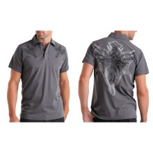 Rock & Roll Cowboy Embroidered Knit Polo Shirt - Short Sleeve (For Men) in Grey - Closeouts