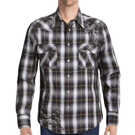 Rock & Roll Cowboy Embroidered Plaid Shirt - Long Sleeve (For Men) in Brown/Blue