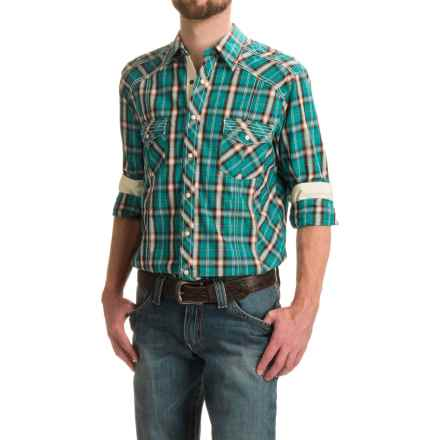 Rock & Roll Cowboy Enzyme-Washed Western Shirt - Snap Front, Long Sleeve (For Men) in Teal Plaid - Closeouts
