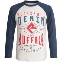 Rock & Roll Cowboy Graphic T-Shirt - Long Sleeve (For Little and Big Boys) in Natural/Indigo - Closeouts