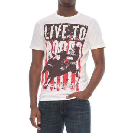 Rock & Roll Cowboy Live to Rodeo Graphic T-Shirt - Short Sleeve (For Men) in White - Closeouts