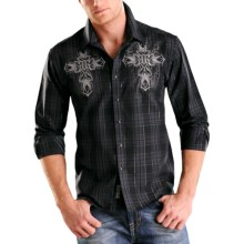 Rock & Roll Cowboy Lurex® Plaid Western Shirt - Woven Cotton, Snap Front, Long Sleeve (For Men) in Black - Closeouts