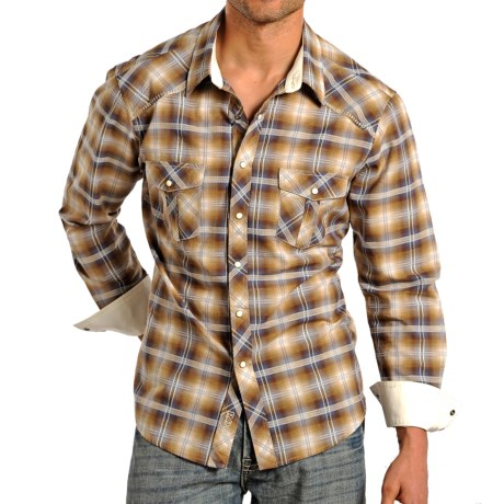 Rock & Roll Cowboy Lurex® Plaid Western Shirt - Woven Cotton, Snap Front, Long Sleeve (For Men) in Brown
