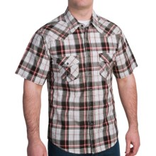 Rock & Roll Cowboy Metallic Stitch Plaid Shirt - Snap Front, Short Sleeve (For Men) in Red - Closeouts