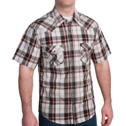 Rock & Roll Cowboy Metallic Stitch Plaid Shirt - Snap Front, Short Sleeve (For Men) in Red