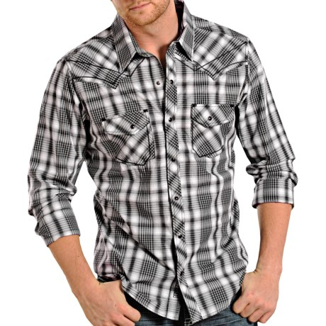 Rock & Roll Cowboy Mini-Plaid Shirt - Snap Front, Long Sleeve (For Men) in Black