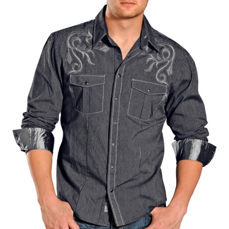 Rock & Roll Cowboy Narrow Stripe Shirt - Snap Front, Long Sleeve (For Men) in Charcoal