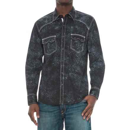 Rock & Roll Cowboy Paisley Print Shirt - Snap Front, Long Sleeve (For Men) in Black - Overstock