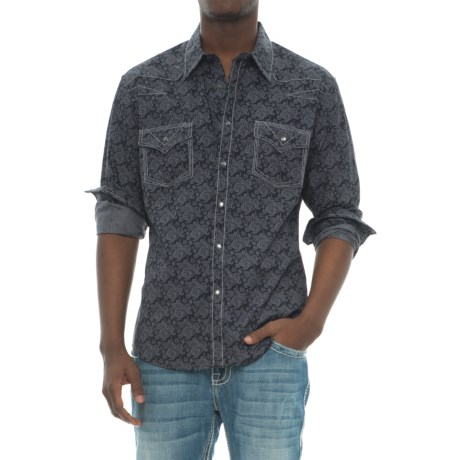 Rock & Roll Cowboy Paisley Print Shirt - Snap Front, Long Sleeve (For Men) in Purple